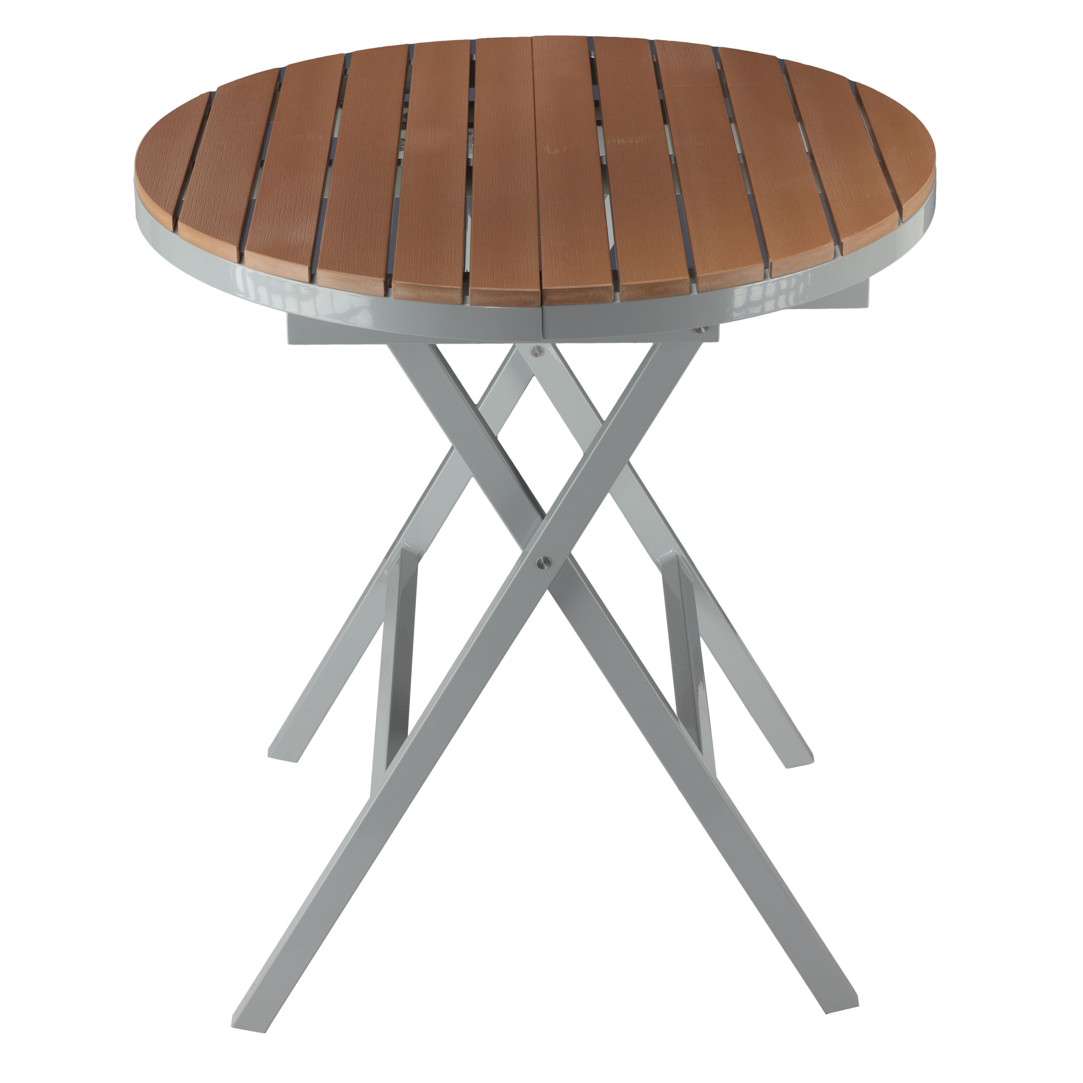 Folding Round Table Top.Cortesi Home Avery Aluminum Outdoor Round Folding Table In Poly Wood