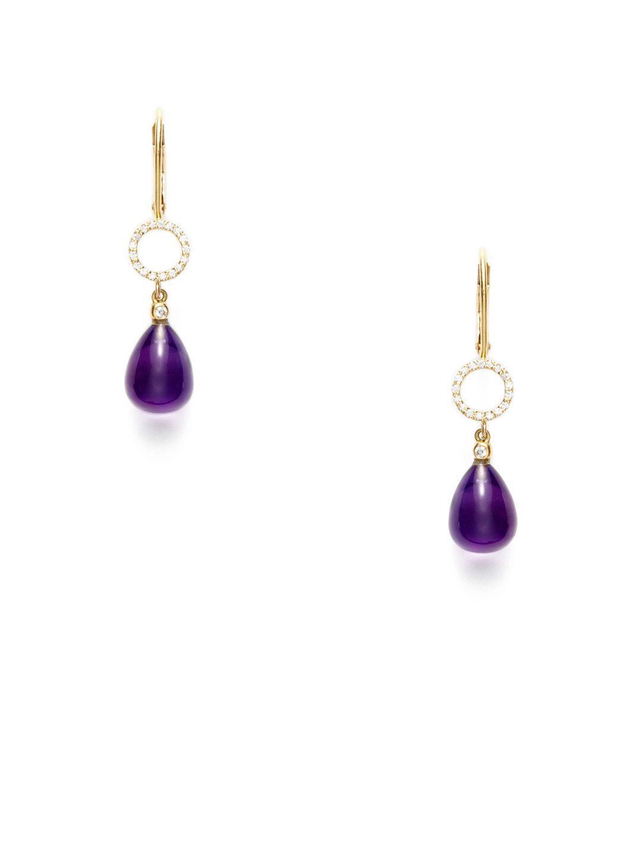 Tom Foolery Amethyst Briolette & Diamond Earrings by Jane Taylor at Gilt