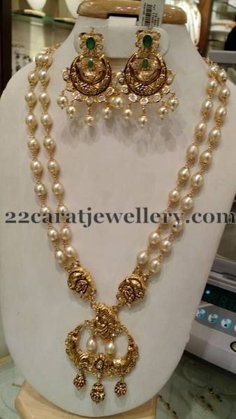 e6f2582fb South sea pearls two layer long chain with Antique work chandbali pendant,  hanging with south sea pearls drops and gold balls. Paired wit.