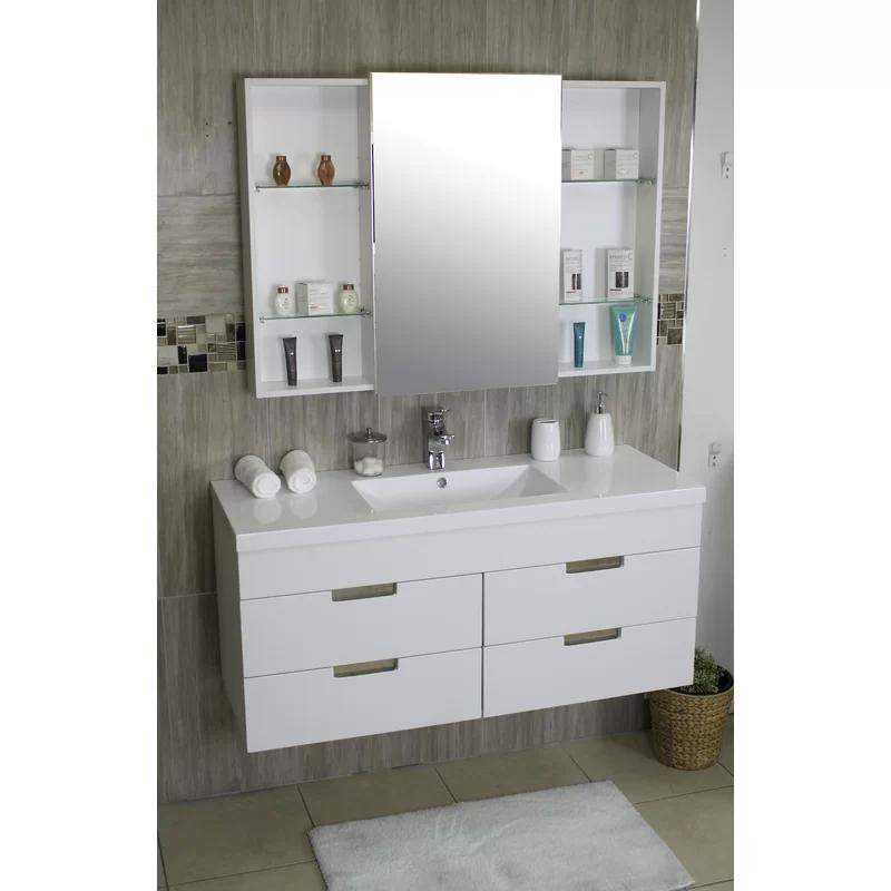 "Shawn 48"" Wall Mounted Single Bathroom Vanity Set Single"