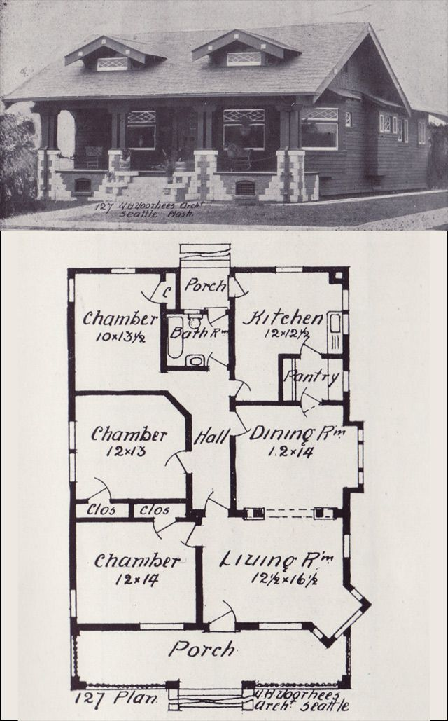 1908 Western Home Builder No 127 House Plans Vintage House Plans Craftsman Style Bungalow
