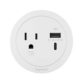 Round Furniture Power Center 1 Outlet With Usb A And Usb C White Rfpcruauc Wh Legrand In 2020 With Images Round Furniture Tool Design Power