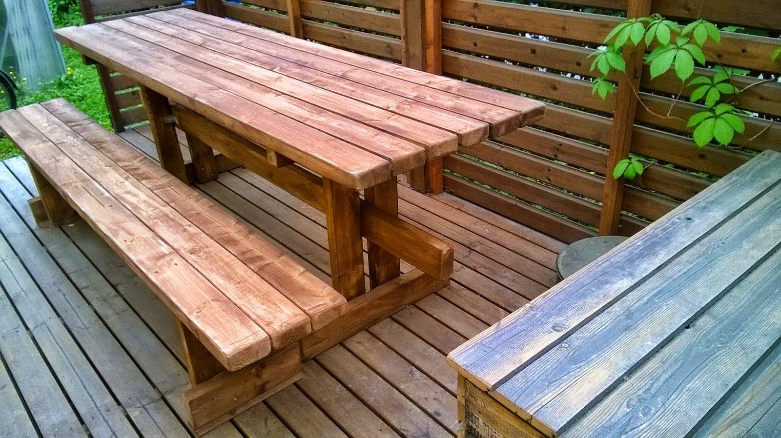 Tupun tupa: Terassin pöytä ja penkki