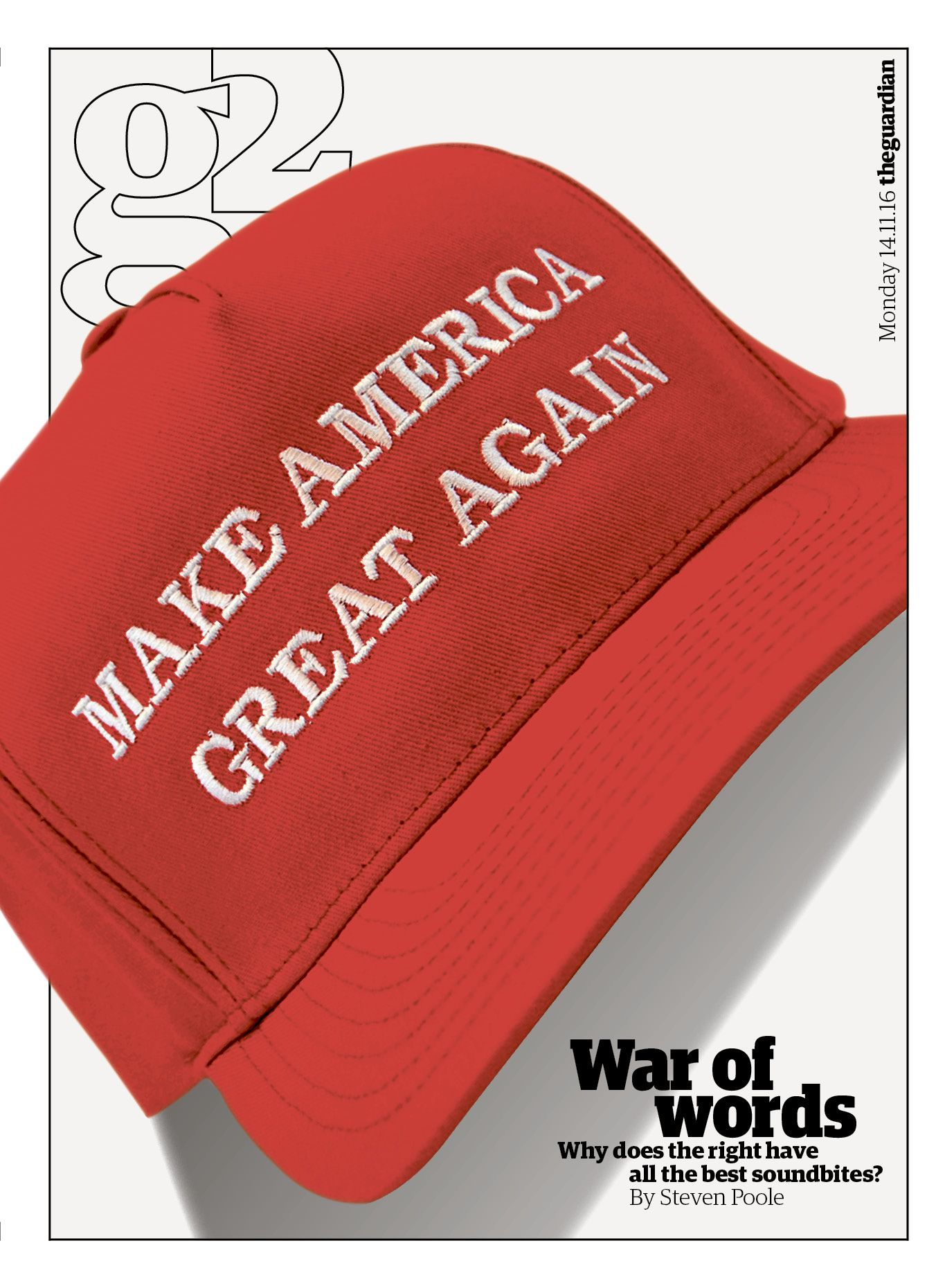 Guardian g2 cover: 'Make America Great Again' #editorialdesign #newspaperdesign #graphicdesign #design #theguardian