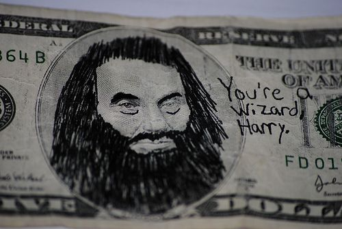 jordan and i have a collection of funny 1 dollar bills that people drew funny things on. i wish we'd find one like this!