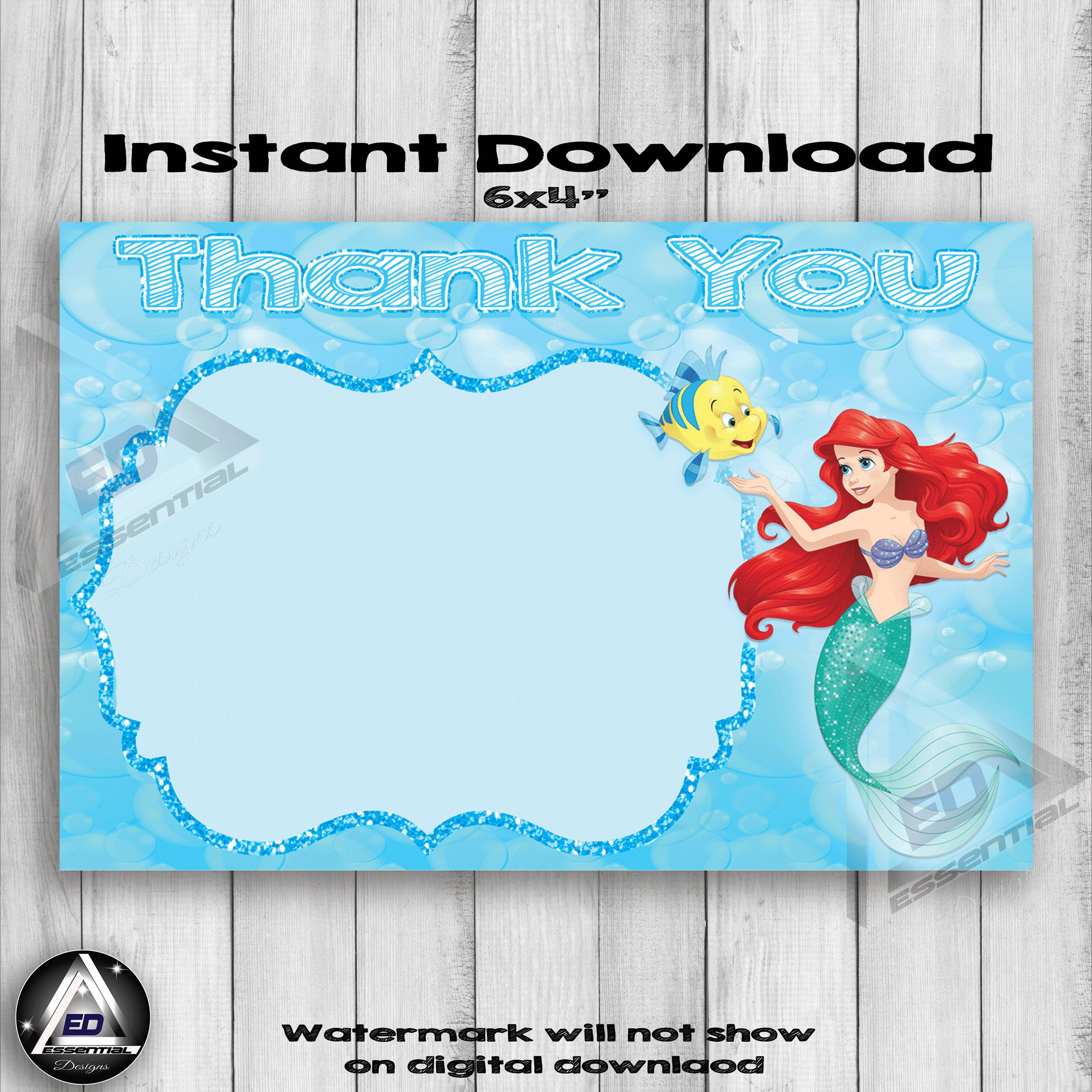 Excited To Share The Latest Addition To My Etsy Shop Ariel Little Mermaid Thank You Card Check Out All Of My Listings A Thank You Cards Birthday Cards Cards