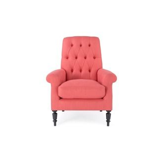 Coral Colour Armchair, Victorian Armchair Victorian Button Back Armchair:  Comfy Upholstered 19th Century Antique