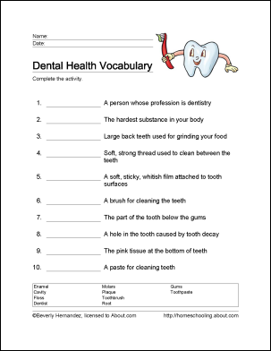 Worksheets Health Worksheets For High School dental health and worksheets on pinterest 10 that will teach your child the basics of vocabulary