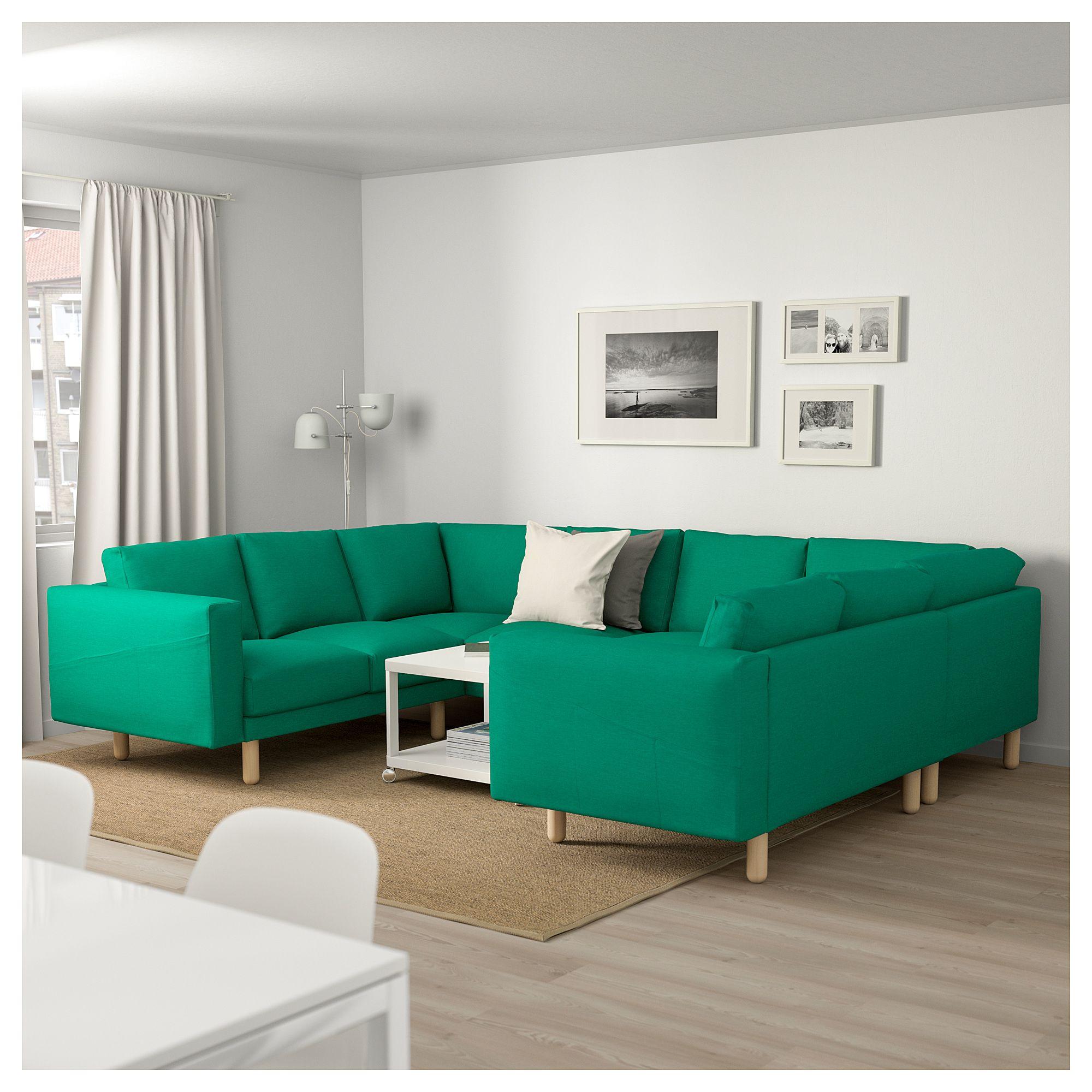 IKEA NORSBORG 8 seat sofa U shaped Edum bright green birch