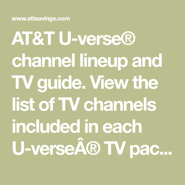 AT&T U-verse® channel lineup and TV guide  View the list of TV