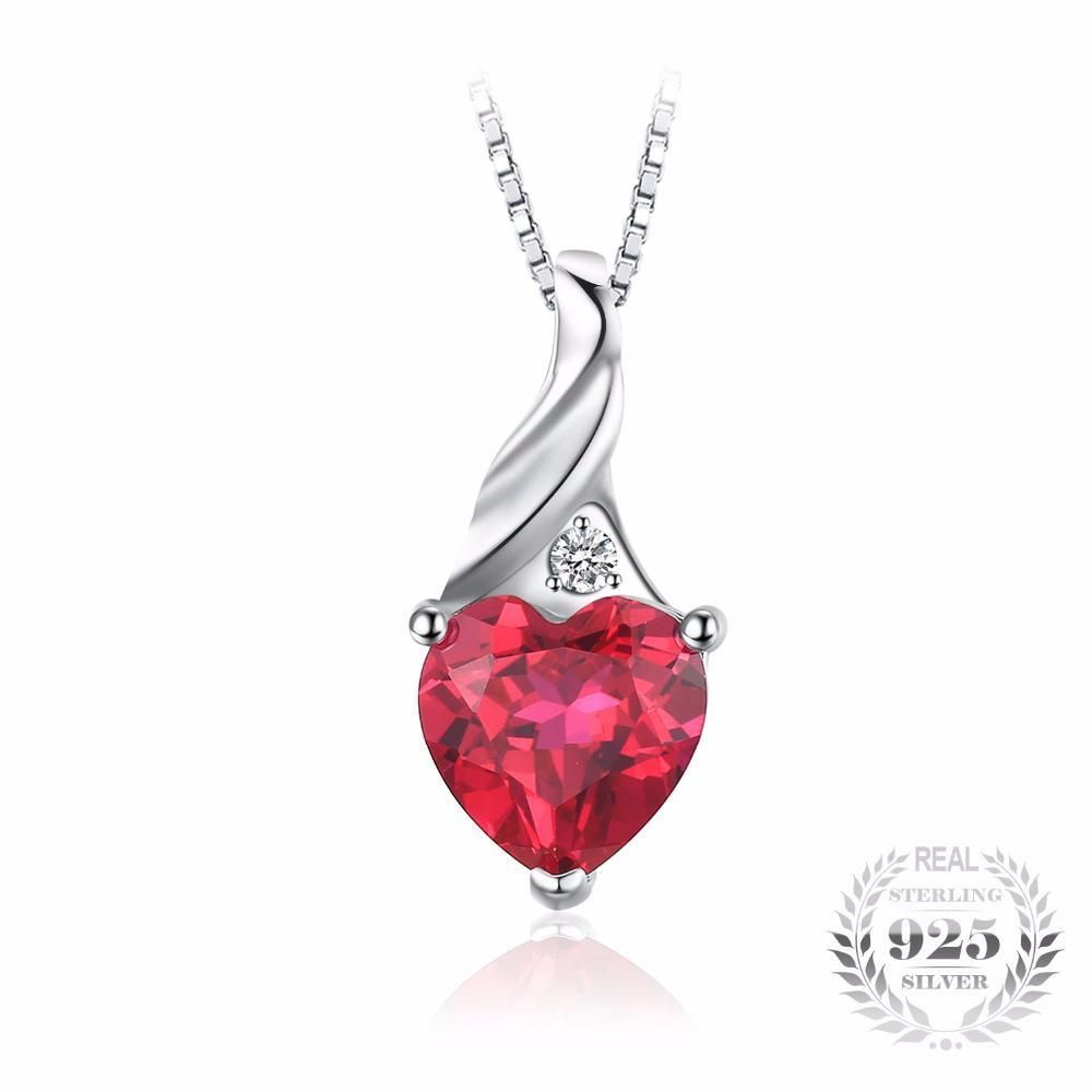 Miore women's 925 Sterling Silver Ruby Red and Diamonds Heart Pendant on 45cm Chain dlhPV
