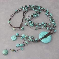 Cotton Multi-strand Turquoise Donut Rope Necklace (Thailand) | Overstock.com Shopping - The Best Deals on Necklaces