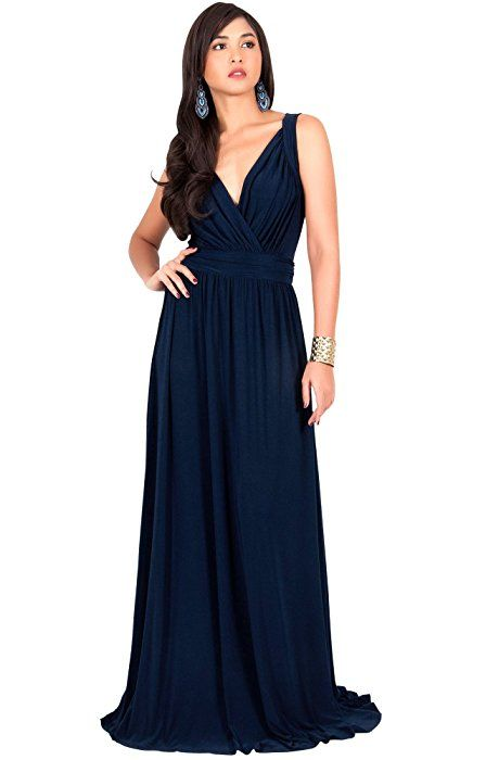 294db2d8a5 KOH KOH Plus Size Women Long Sleeveless Flowy Bridesmaids Cocktail Party  Evening Formal Sexy Summer Wedding