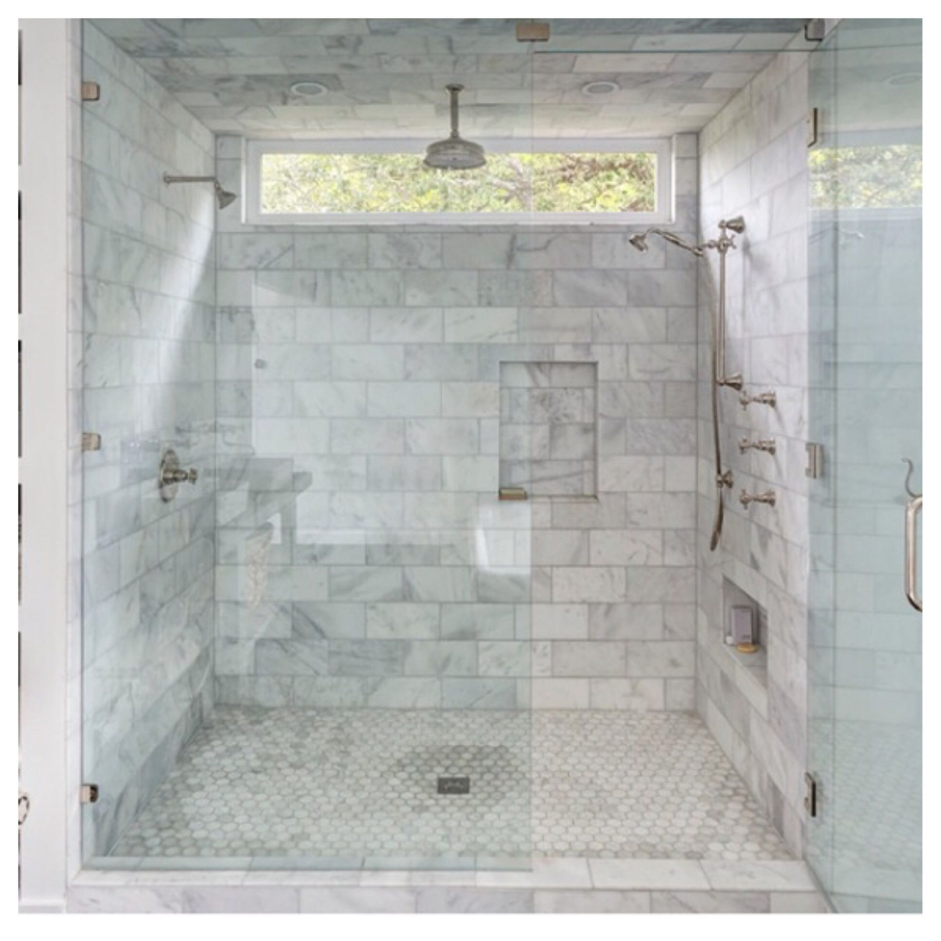 Photo Album For Website I like the dark floors with the lighter tile in this bathroom shower Storage shelves to the side of the shower Bouldin Creek Residence by Silverthorn