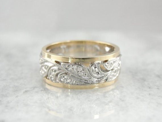 Wide Filigree Wedding Band From Mid 1900 S Yellow And White Gold Wide Band Wedding Ring Wedding Rings Vintage Filigree Wedding Band