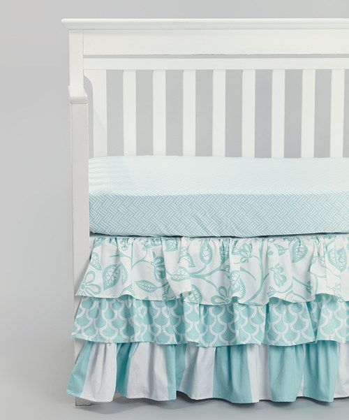Take a look at the Carousel Designs Aqua Bird & Stripe Tiered Crib Skirt on #zulily today!