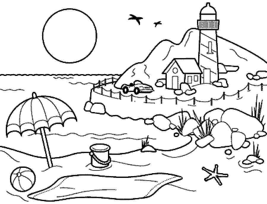 Coloring pages summer season pictures for kids drawing for Summer pictures for kids to colour
