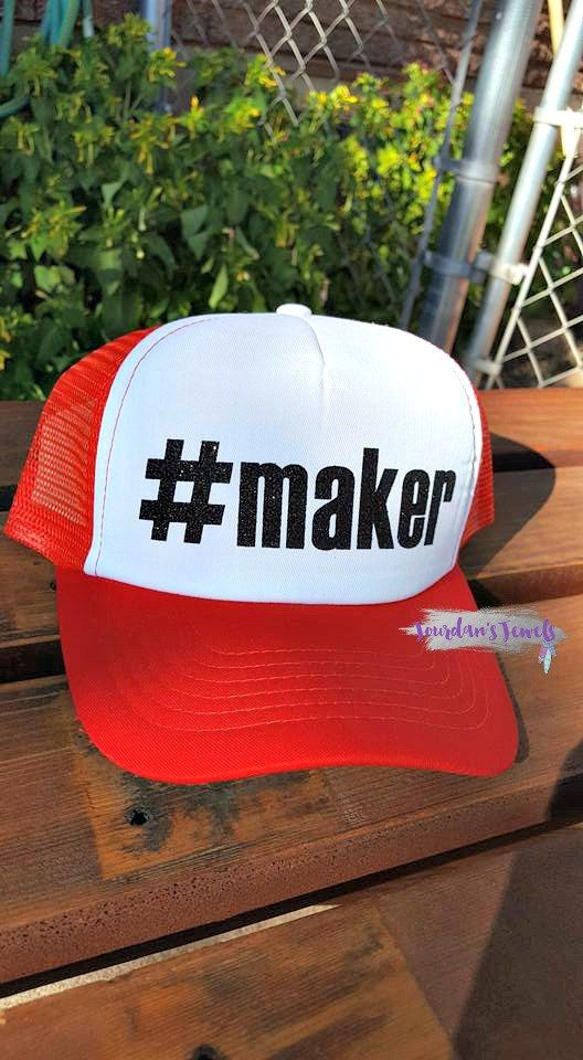 """""""#maker"""" trucker hat. This hat is perfect for the creative makers in your life. Buy yours now at Jourdan's {Handmade} Jewels.    Girl Boss. Momprenuer. Lady Boss. Maker. I'm a Maker. Makers Gonna Make."""