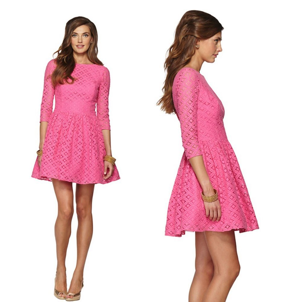 Most revealing wedding dresses ever  Statement piece lilly pulitzer xoxo pink lace lori swing eyelet