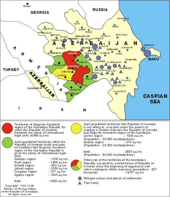 Map shows refugee camps and places of settlement in NagornoKarabakh