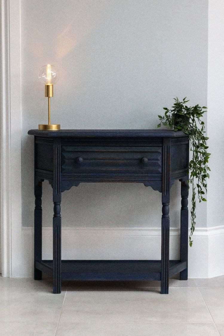 Blue Hand Painted Console Table Annie Sloan Oxford Navy Console