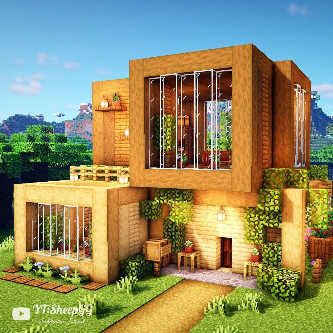Sheepgg On Instagram Let S Build A Wooden Modern House Tutorial On My Youtube Channel En 2020 Mansion De Minecraft Casas Minecraft Arquitectura Minecraft