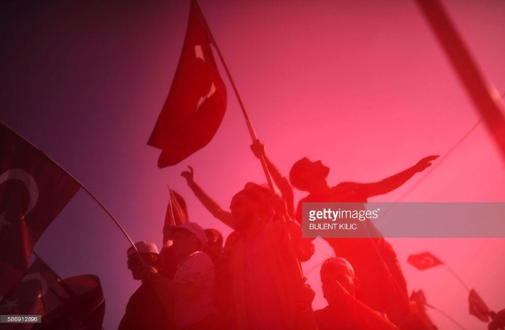Photo d'actualité : TOPSHOT - Demonstrators wave Turkish national...
