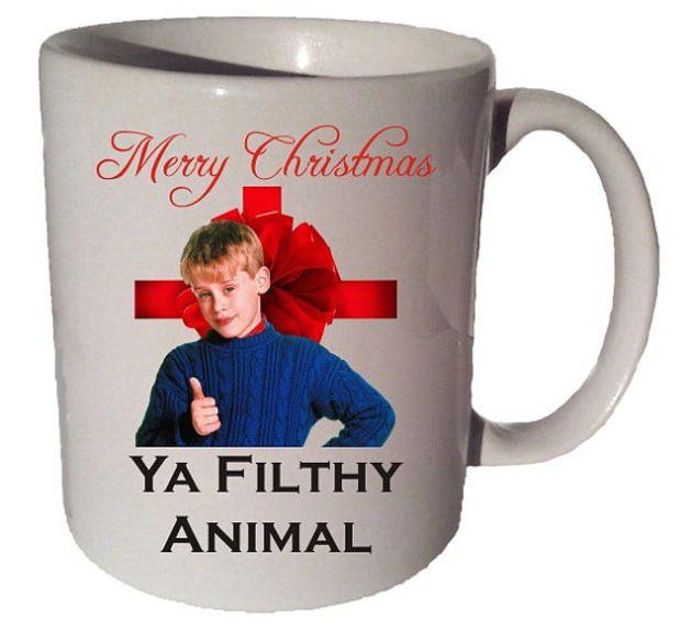 Merry Christmas Ya Filthy Animal Quote 11 Oz Coffee Tea Mug Home Alone  Movei Quote