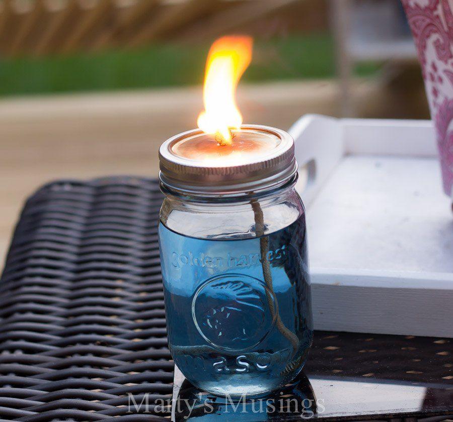 DIY Mason Jar Citronella Candles Chase Mosquitoes