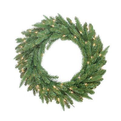 """Northlight Pre-Lit PE/PVC Mixed Pine Artificial Christmas Wreath Size: 30"""""""