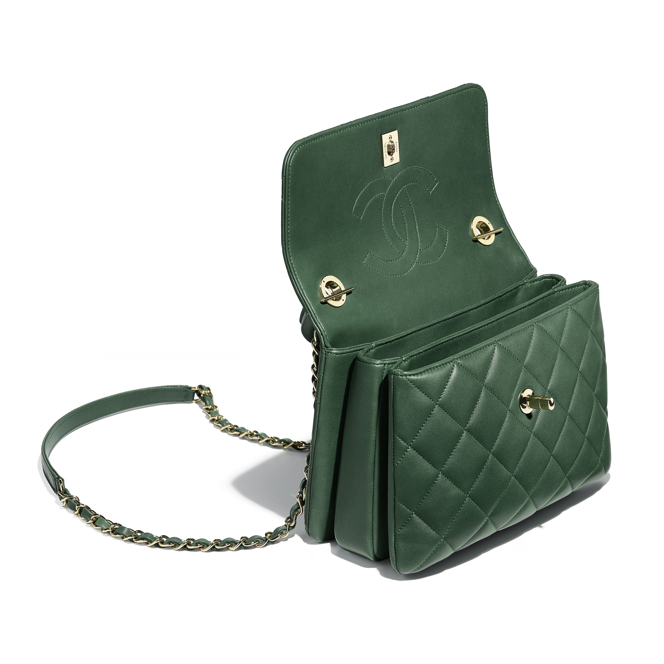 f20d20aae633 Small Flap Bag with Top Handle - Green - Lambskin & Gold-Tone Metal - Other  view - see standard sized version