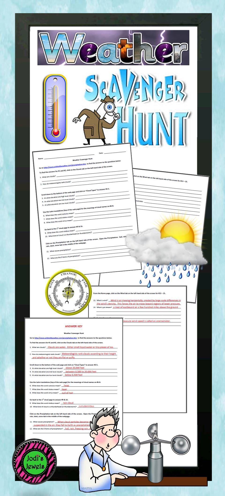 Internet Weather Scavenger Hunt Elementary School Science Elementary Science Activities Middle School Science
