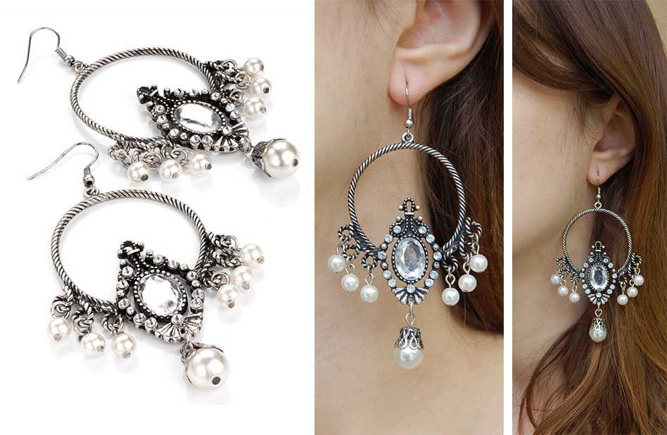 Boucles d'oreilles perle blanche. www.milena-moda.com