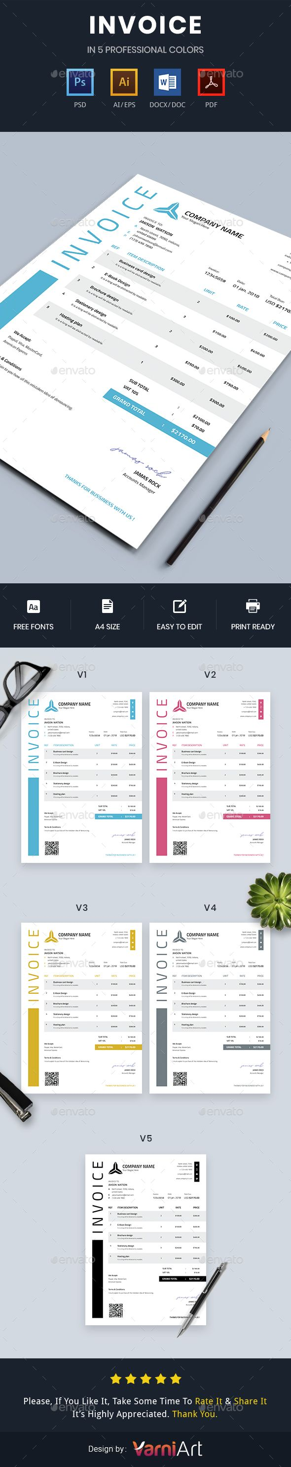 Invoice Template Psd Vector Eps Ai Docx Proposal Invoice