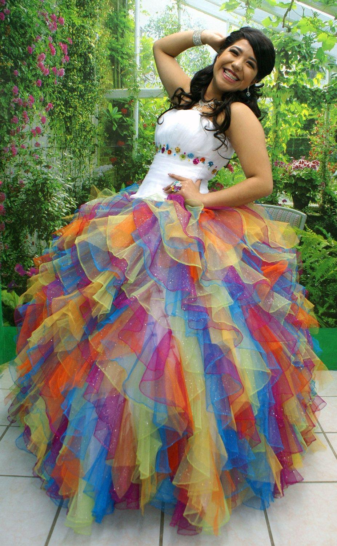 Dresses quinceanera rainbow colors 2019