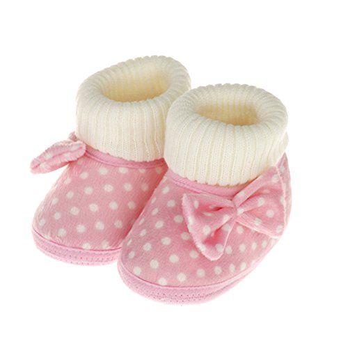 Femizee Infant Toddler Baby Girls Bowknot Warm Winter Boots Prewalker Crib Shoes Pink w/ DIY - Bead&Cord
