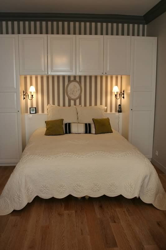 Bed will be turned so there is room when you enter the for Wallpaper for wall behind bed