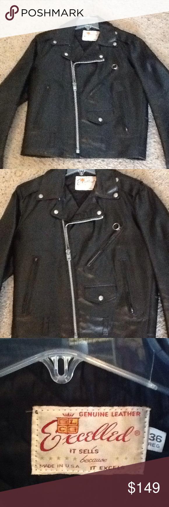 Excelled Vintage Motorcycle Moto Biker Jacket Mint Nwot Excelled Sz 36 Black Leather Biker Moto Jacket New W Vintage Jacket Clothes Design Outfit Accessories [ 1740 x 580 Pixel ]