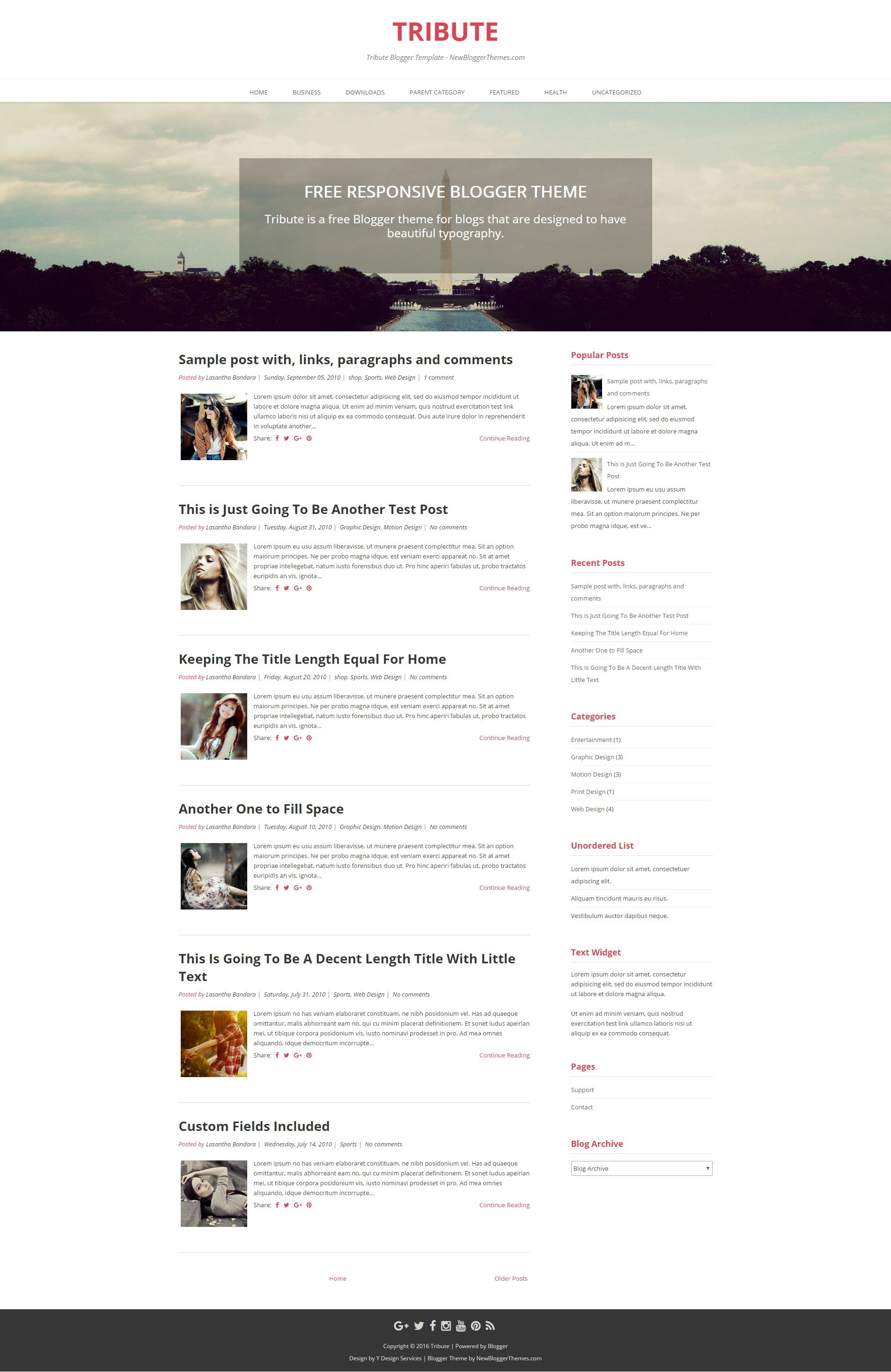 Tribute is minimal free 2 columns Blogger theme for blogs that are