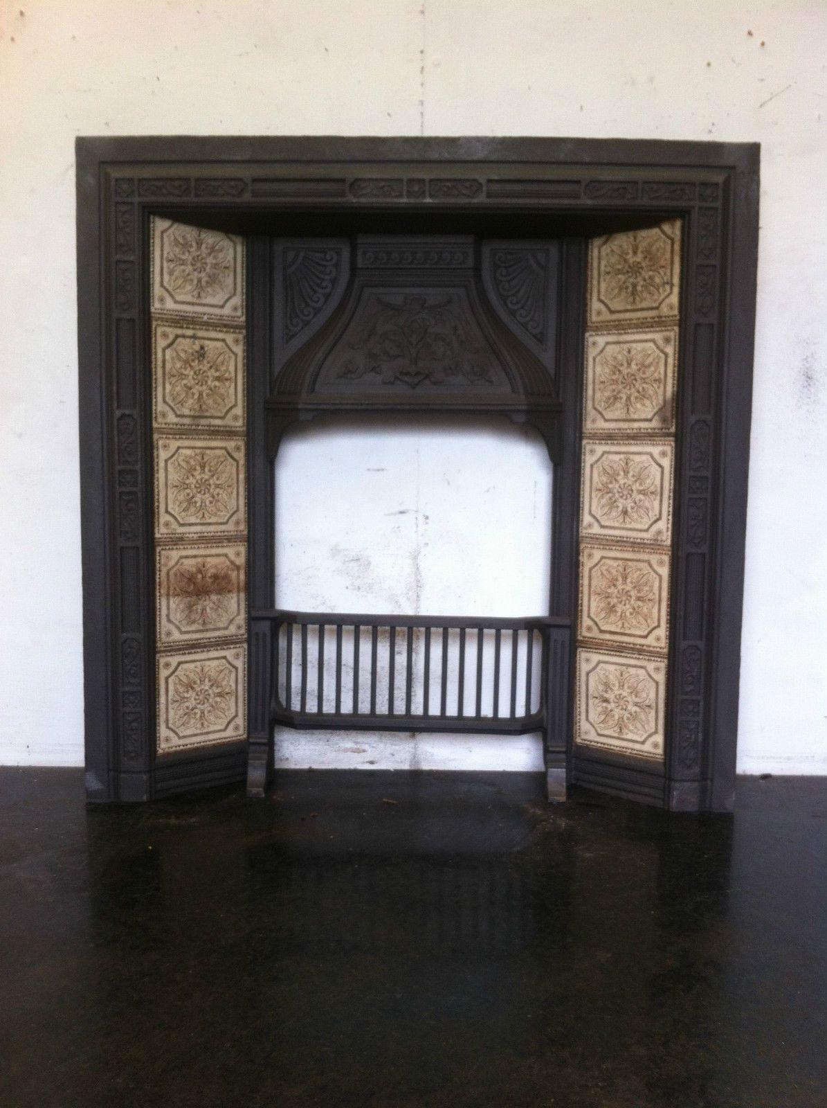 details about original restored antique cast iron victorian tiled