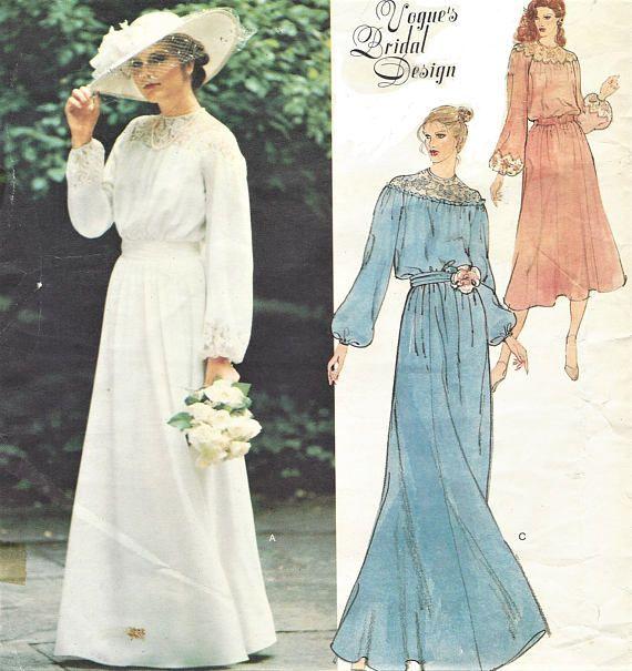1970s Belinda Bellville Womens Boho Wedding Dress Vogue Sewing ...