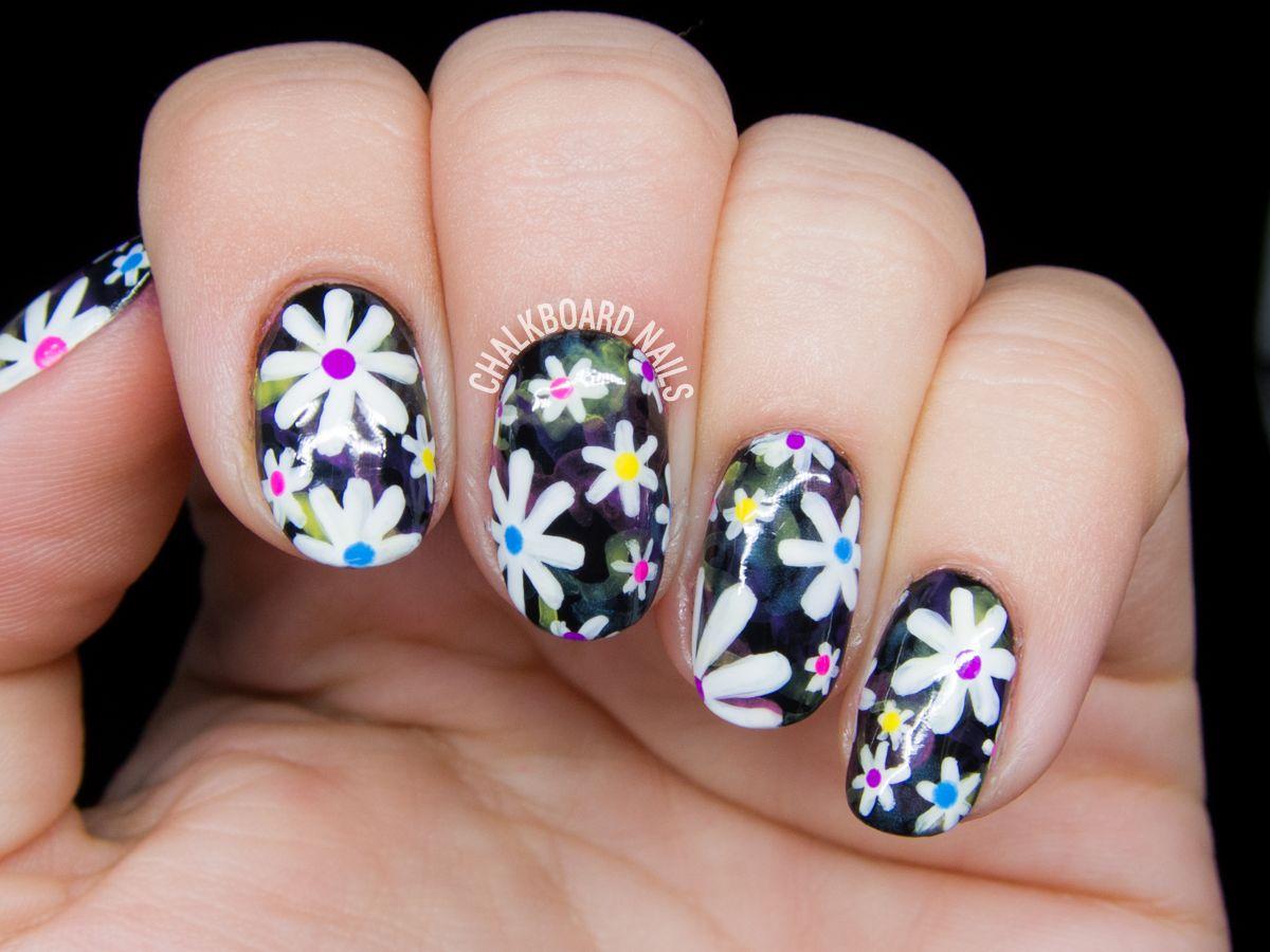 Electric Daisy Floral Print Nail Art | Daisy nail art, Daisy nails ...