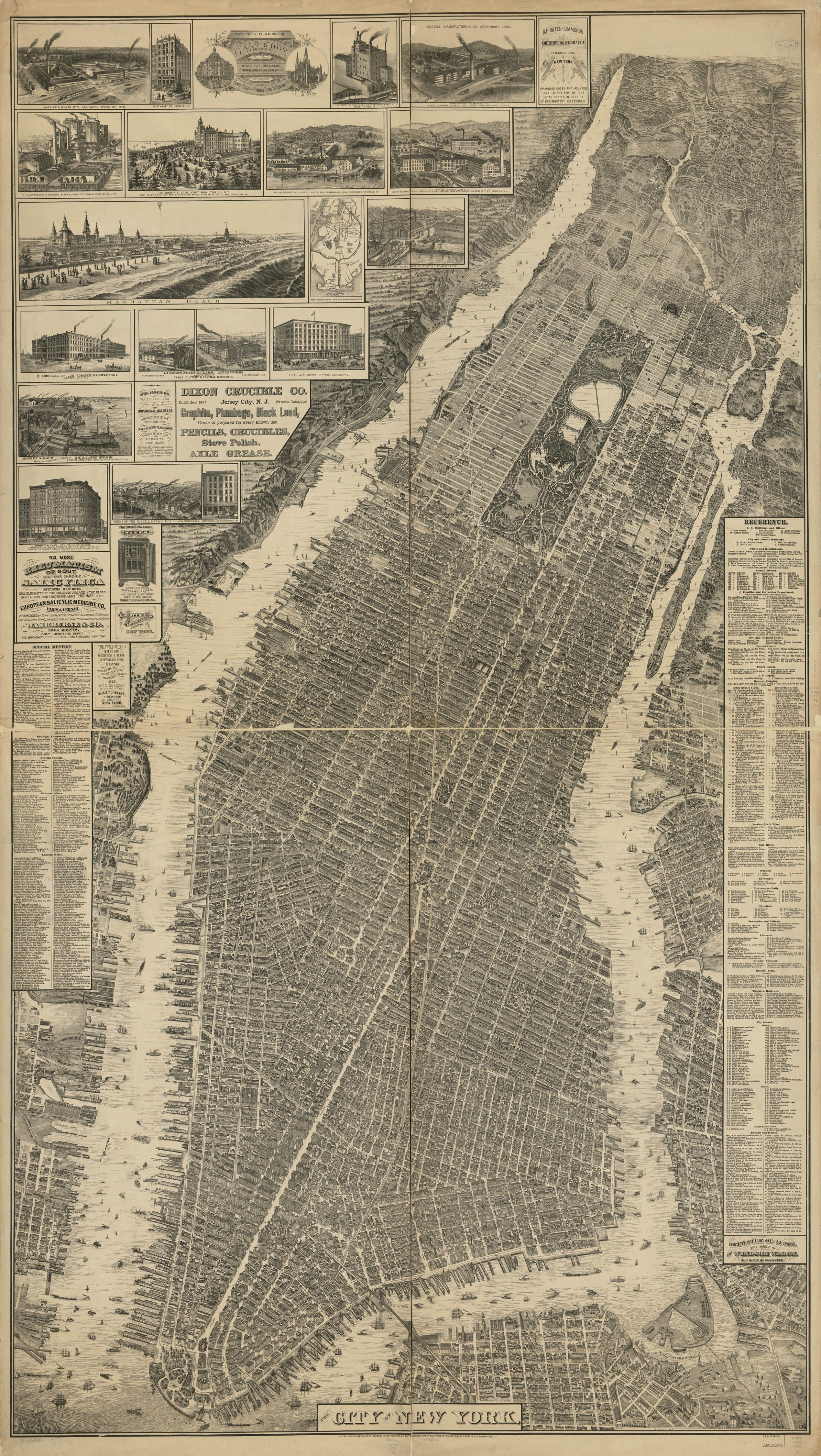 This remarkable map a birdseye perspective view of New York