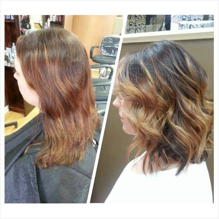 Balayage using Redken Blonde Icing and Shades EQ gloss.