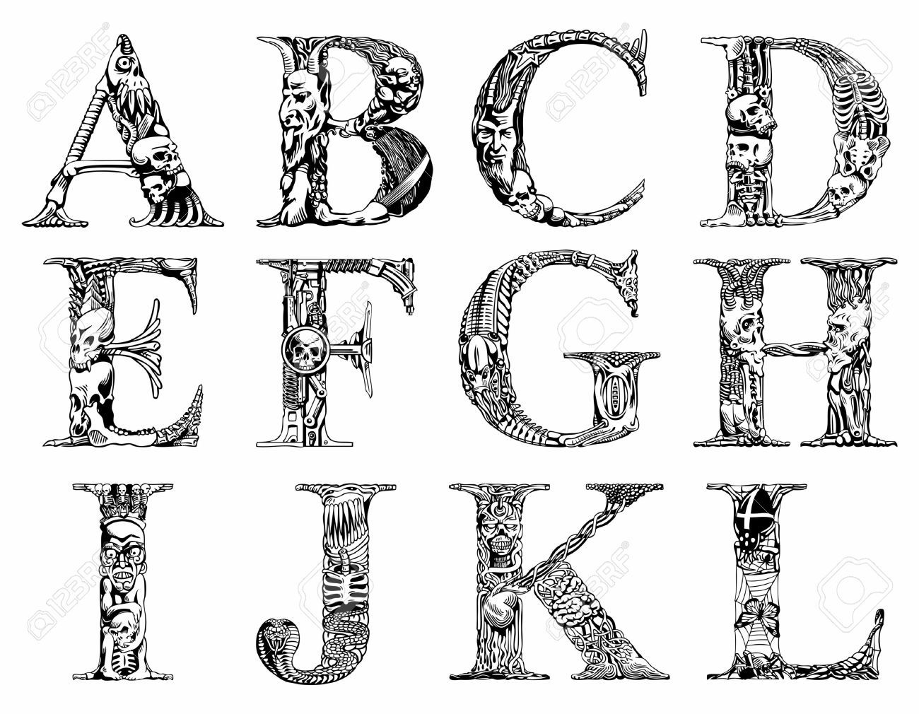 Set Of Vector Letters With Terrible Symbols Letters Pinterest