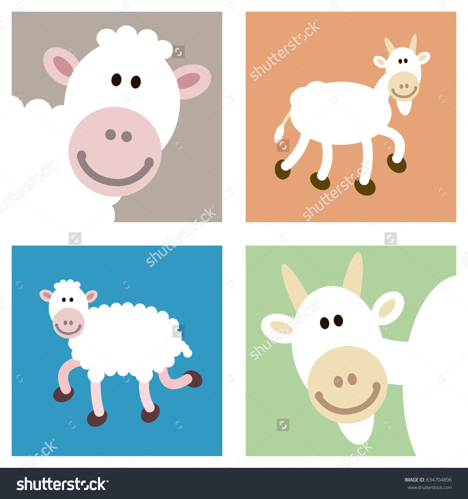 smiley face happy goat and sheep illustrations in various cutouts