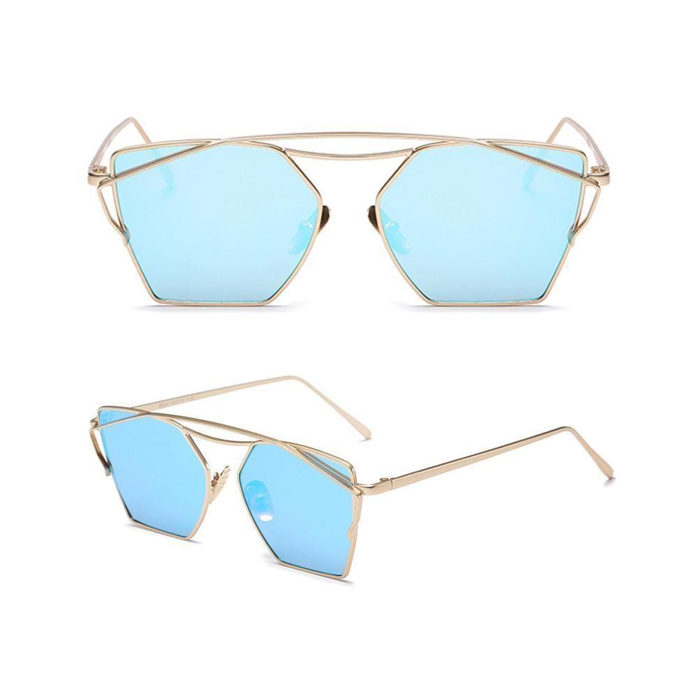 JJ Colour Tinted Mirrored Lens Metal Cat Eye Sunglasses