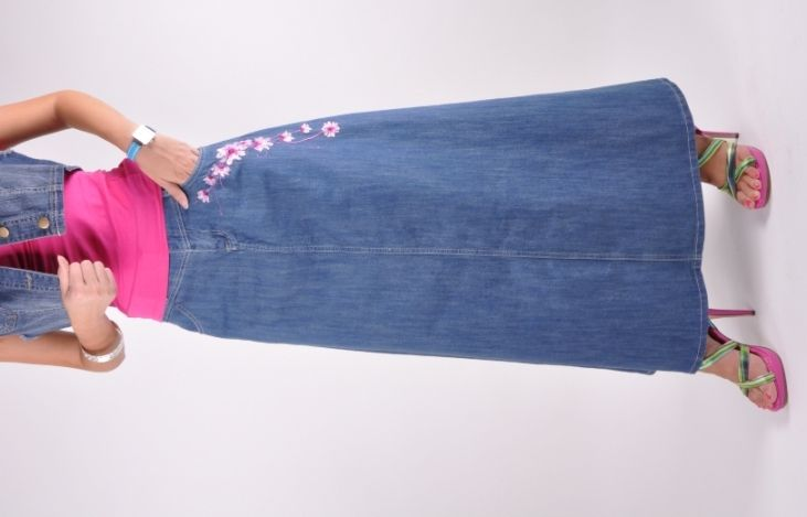 Modest Floral Long Jean Skirt.  I'd have to get used to this look, but I think that I like it too.