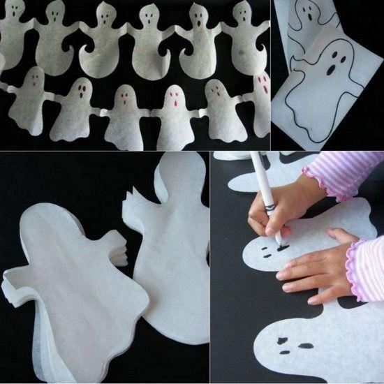 Guirnalda De Fantasmas Manualidades Halloween Manualidades Halloween Cosas De Halloween Fantasmas De Halloween