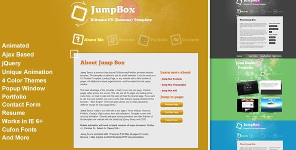 Jump Box Is A Premium Ajax Based CvResumePortfolio Animated